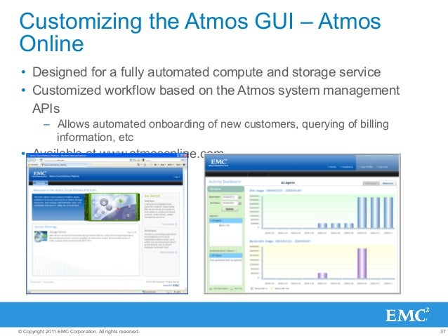 37© Copyright 2011 EMC Corporation. All rights reserved. Customizing the Atmos GUI – Atmos Online • Designed for a fully ...