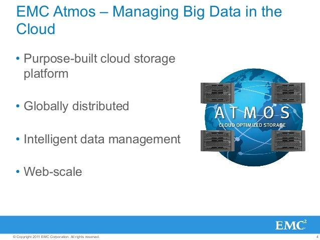 4© Copyright 2011 EMC Corporation. All rights reserved. EMC Atmos – Managing Big Data in the Cloud • Purpose-built cloud ...