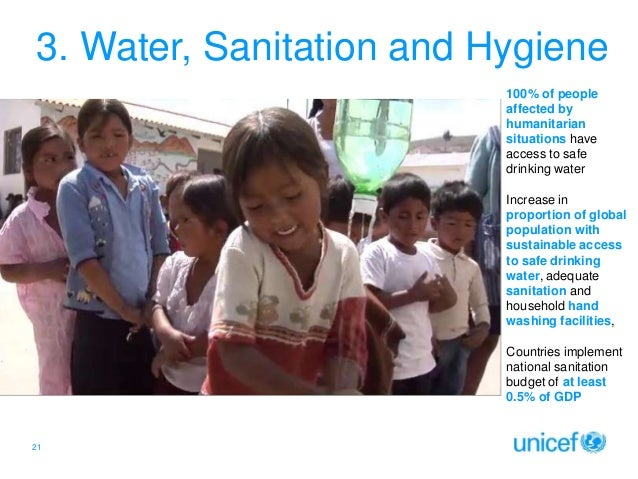 3. Water, Sanitation and Hygiene 100% of people affected by humanitarian situations have access to safe drinking water Inc...