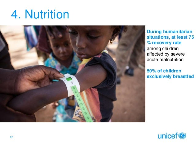 4. Nutrition During humanitarian situations, at least 75 % recovery rate among children affected by severe acute malnutrit...