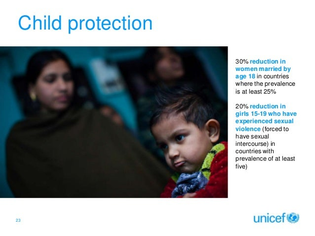 Child protection 30% reduction in women married by age 18 in countries where the prevalence is at least 25%  Click to edit...