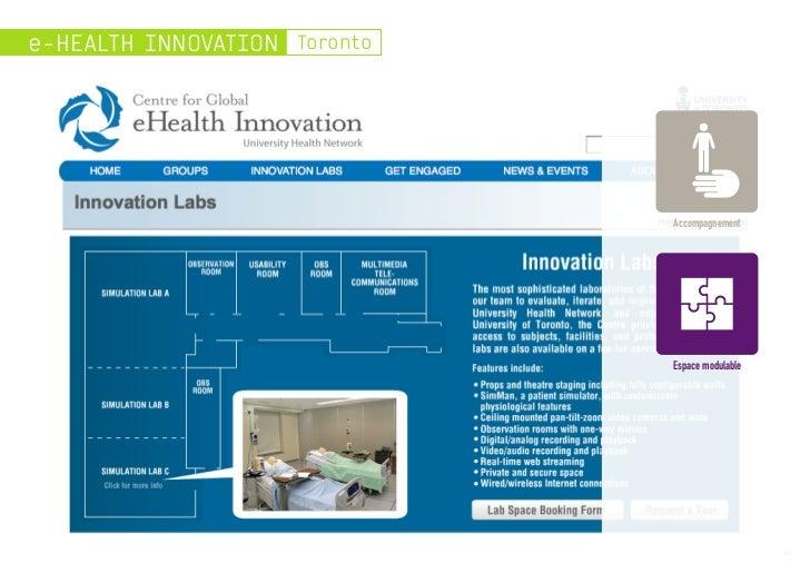e-HEALTH INNOVATION Toronto                              Accompagnement                              Espace modulable     ...