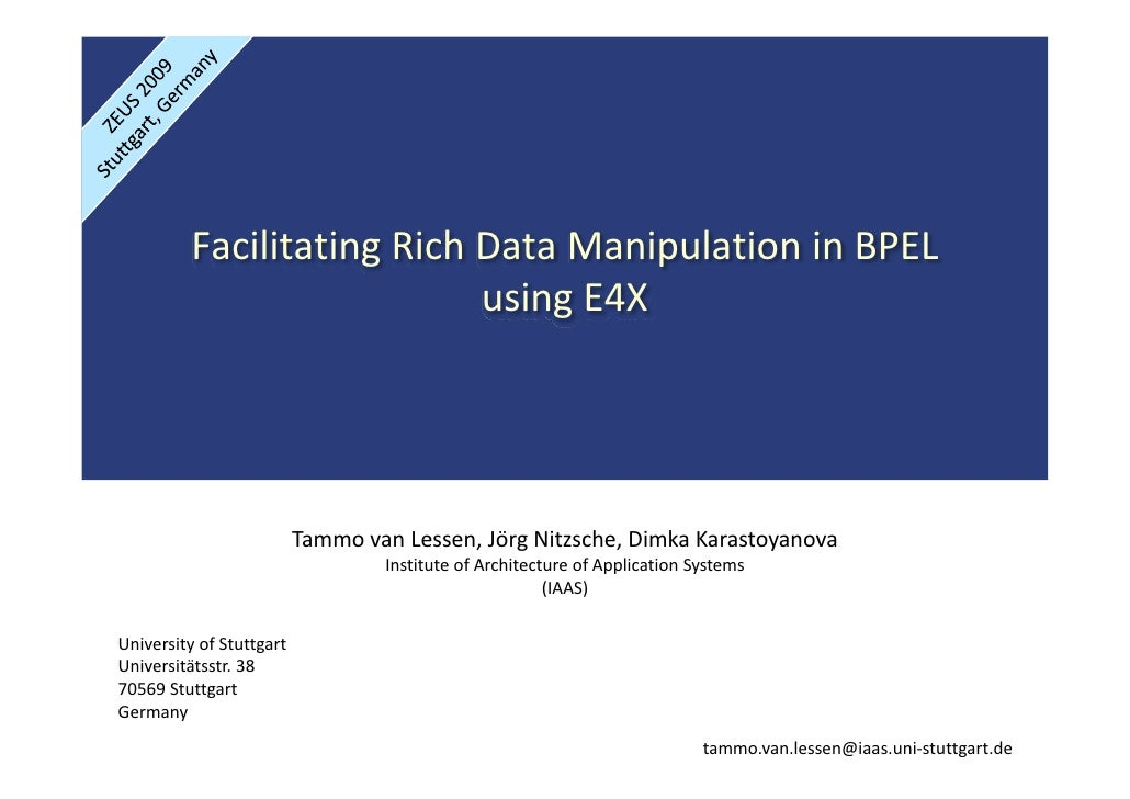 FacilitatingRichDataManipulationinBPEL                            usingE4X                               Tammovan...