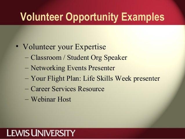 Volunteer Opportunity Examples • Volunteer your Expertise – Classroom / Student Org Speaker – Networking Events Presenter ...