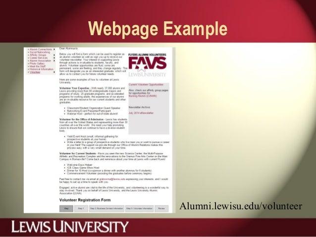 Webpage Example Alumni.lewisu.edu/volunteer