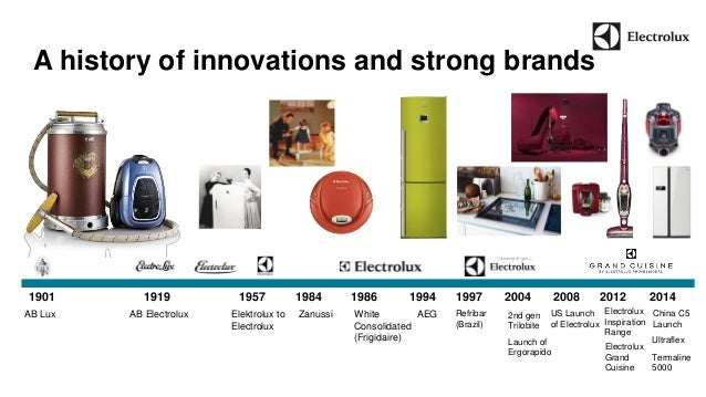 A history of innovations and strong brands  1901 1919 1957 1984 1986 1994 1997 2004 2008 2012 2014  AB Lux AB Electrolux E...