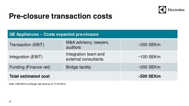 Pre-closure transaction costs  60  GE Appliances – Costs expected pre-closure  Transaction (EBIT)  M&A advisory, lawyers, ...