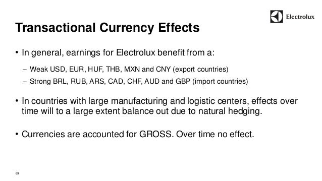 Transactional Currency Effects  69  • In general, earnings for Electrolux benefit from a:  – Weak USD, EUR, HUF, THB, MXN ...