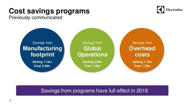 Cost savings programs  Previously communicated  73  Savings from  Overhead  costs  Savings from  Global  Operations  Savin...