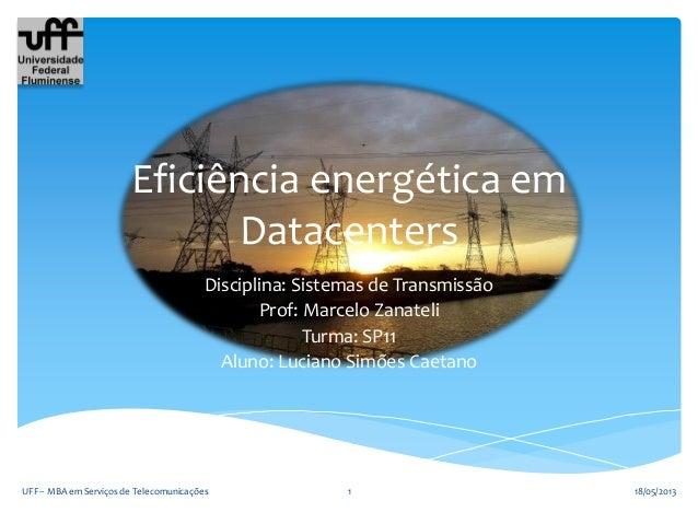 Eficiência energética emDatacentersDisciplina: Sistemas de TransmissãoProf: Marcelo ZanateliTurma: SP11Aluno: Luciano Simõ...