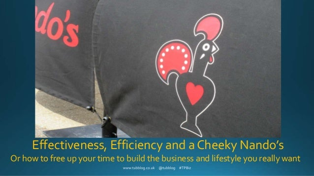 Effectiveness, Efficiency and a Cheeky Nando's Or how to free up your time to build the business and lifestyle you really ...