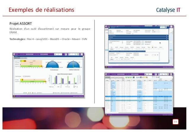 Catalyse IT Projet ASSORT Réalisation d'un outil d'assortiment sur mesure pour le groupe ERAM. Technologies: Flex 4 – Java...