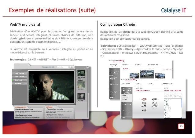 Catalyse IT 13 WebTV multi-canal Réalisation d'un WebTV pour le compte d'un grand acteur de du secteur audiovisuel, intégr...