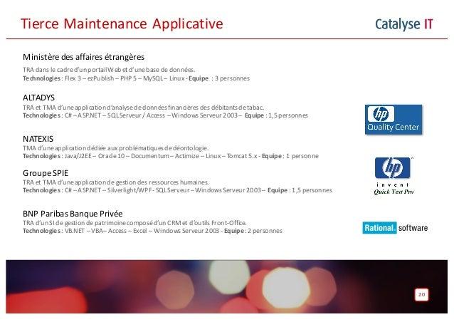 Catalyse IT 20 TierceMaintenanceApplicative Ministère des affaires étrangères TRA dans le cadred'un portail Web etd'uneb...