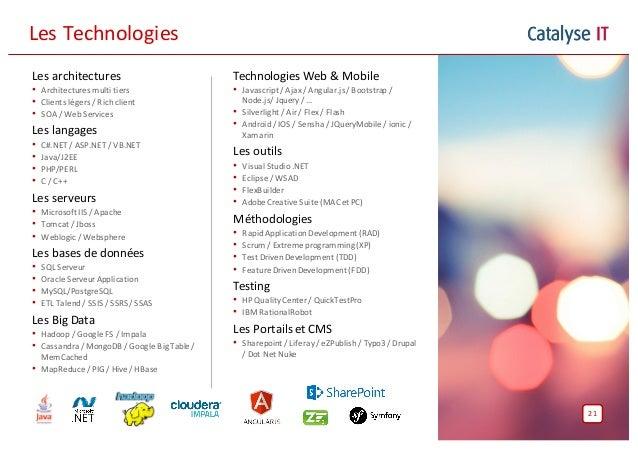 Catalyse ITLesTechnologies Lesarchitectures • Architecturesmultitiers • Clientslégers/Richclient • SOA/WebServi...