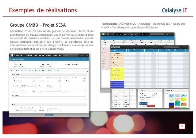 Catalyse IT Groupe CMBB – Projet SESA Réalisation d'une plateforme de gestion de dossiers clients et de planification de t...