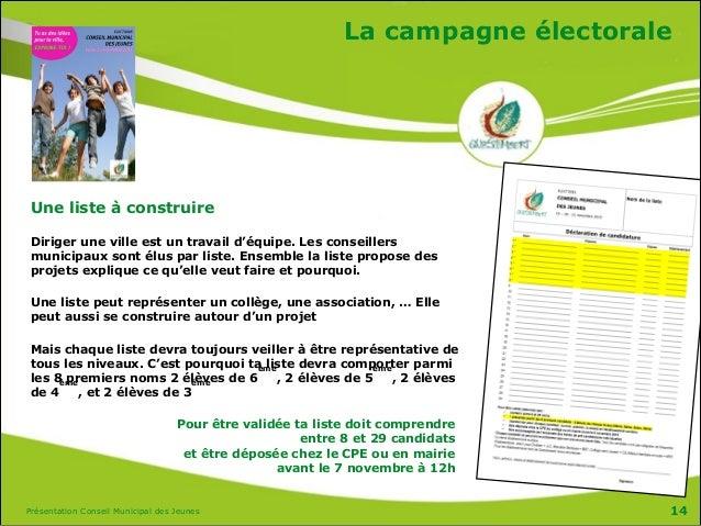 Présentation Conseil Municipal des Jeunes La campagne électorale Une liste à construire Diriger une ville est un travail d...