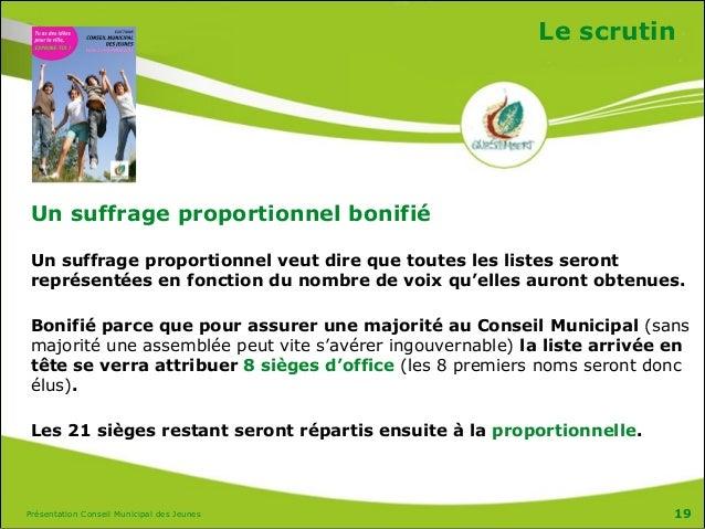 Présentation Conseil Municipal des Jeunes Le scrutin Un suffrage proportionnel bonifié Un suffrage proportionnel veut dire...