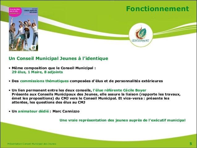Présentation Conseil Municipal des Jeunes Fonctionnement Un Conseil Municipal Jeunes à l'identique • Même composition que ...
