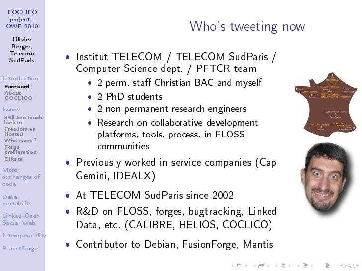 Coclico project - Forges Interoperability (OWF 2010) Slide 3