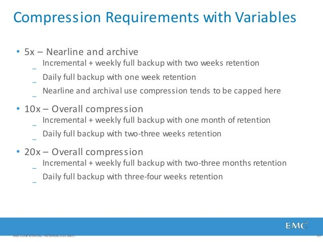 Compression Requirements with Variables EMC CONFIDENTIAL—INTERNAL USE ONLY. 39 • 5x – Nearline and archive Incremental + w...