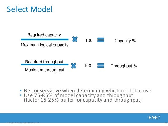 Select Model Maximum throughput • Be conservative when determining which model to use • Use 75-85% of model capacity and t...