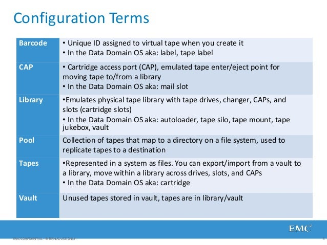Configuration Terms EMC CONFIDENTIAL—INTERNAL USE ONLY. 5 Barcode • Unique ID assigned to virtual tape when you create it ...