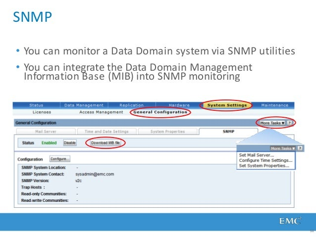 SNMP 50 • You can monitor a Data Domain system via SNMP utilities • You can integrate the Data Domain Management Informati...