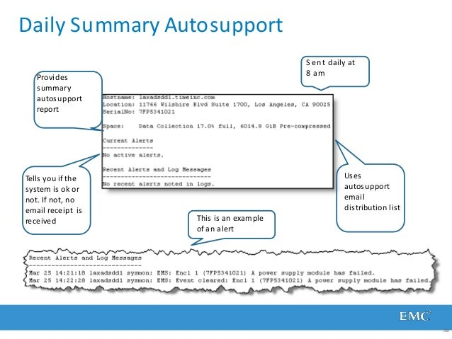 Daily Summary Autosupport Provides summary autosupport report Tells you if the system is ok or not. If not, no email recei...