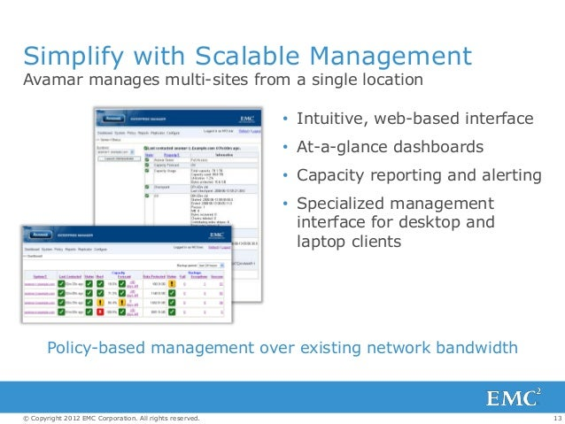 13© Copyright 2012 EMC Corporation. All rights reserved. Simplify with Scalable Management Avamar manages multi-sites from...