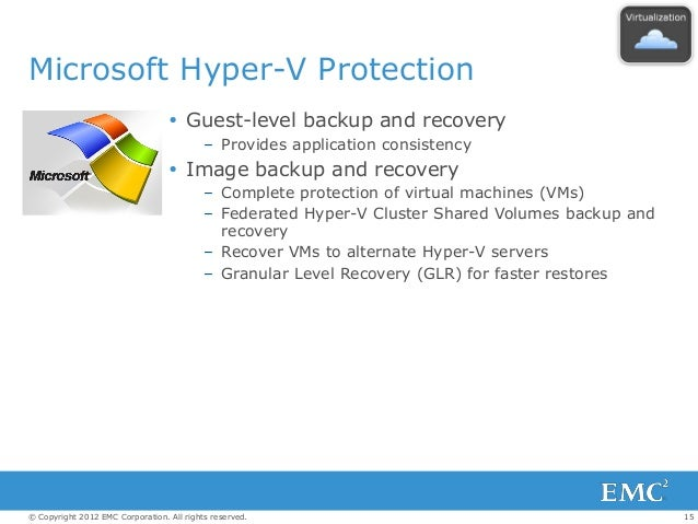 15© Copyright 2012 EMC Corporation. All rights reserved. Microsoft Hyper-V Protection  Guest-level backup and recovery – ...