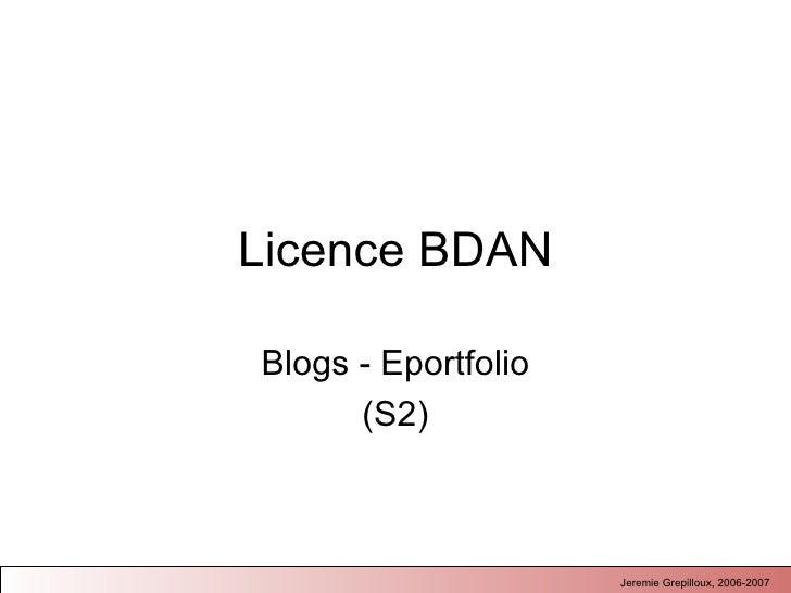 Licence BDAN Blogs - Eportfolio (S2)