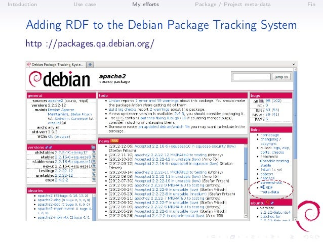 Intoduction      Use case      My efforts   Package / Project meta-data   Fin      Adding RDF to the Debian Package Trackin...
