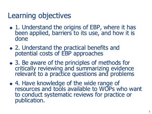 Systematic review and evidence-based work and organizational psychology Slide 2