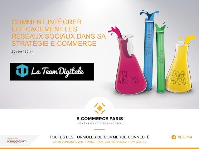 COMMENT INTÉGRER  EFFICACEMENT LES  RÉSEAUX SOCIAUX DANS SA  STRATÉGIE E-COMMERCE  2 3 / 0 9 / 2 0 1 4  TOUTES LES FORMULE...