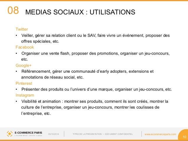 08  MEDIAS SOCIAUX : UTILISATIONS  E-COMMERCE PARIS www.ecommerceparis.com  L ' É V É N E M E N T C R O S S - C A N A L  1...