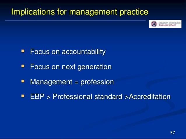 Evidence-Based Practice, Evidence From Key Domains: Management