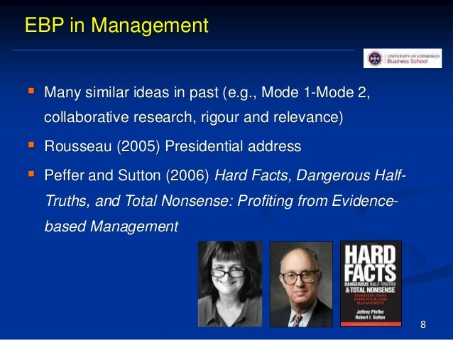 EBP in Management  Many similar ideas in past (e.g., Mode 1-Mode 2, collaborative research, rigour and relevance)  Rouss...