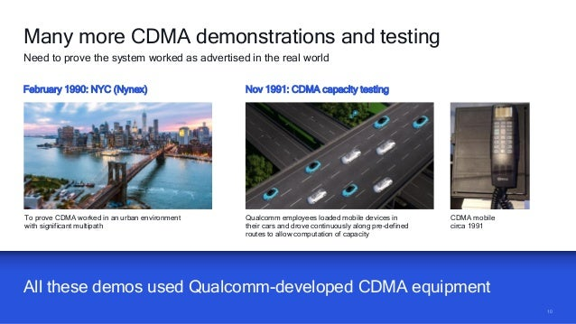 1010 All these demos used Qualcomm-developed CDMA equipment Many more CDMA demonstrations and testing Need to prove the sy...