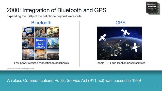 2727 Low-power wireless connection to peripherals Wireless Communications Public Service Act (911 act) was passed in 1999 ...