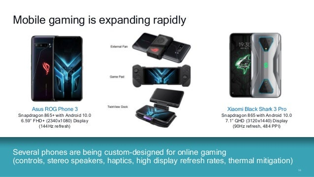 5858 Several phones are being custom-designed for online gaming (controls, stereo speakers, haptics, high display refresh ...