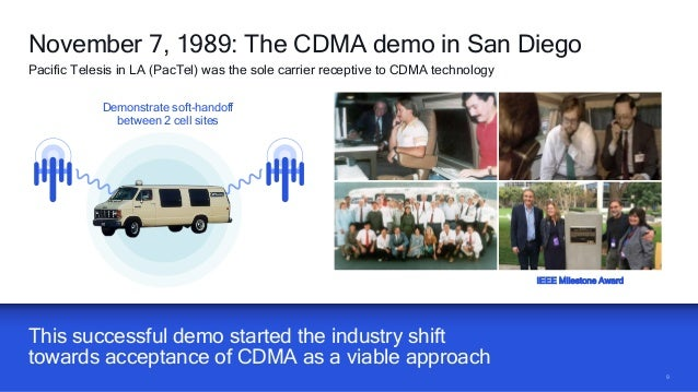 99 This successful demo started the industry shift towards acceptance of CDMA as a viable approach November 7, 1989: The C...