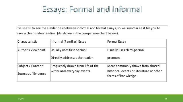 define formal informal essay Formal and informal essay huxley's definition of an essay aldous huxley was the person who came up with the above three essay categories, and their definitions.