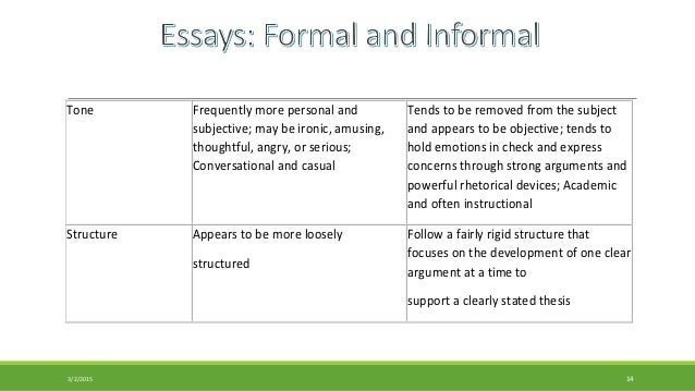 formal essay and informal familiar essay tone frequently