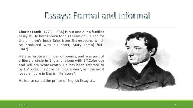 Charles lamb as a personal essayist