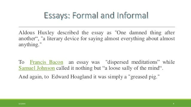 Informal essay literary terms