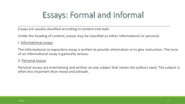 formal essay and informal familiar essay essays