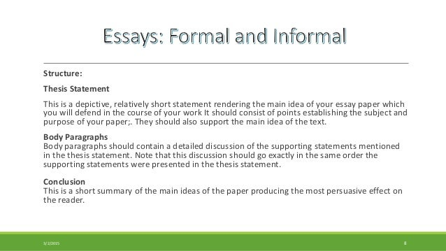 types of essay formal and informal Informal writing vs formal writing throughout the semester, i have been assigned essays consisted of two different types of writing, informal and formal writing.