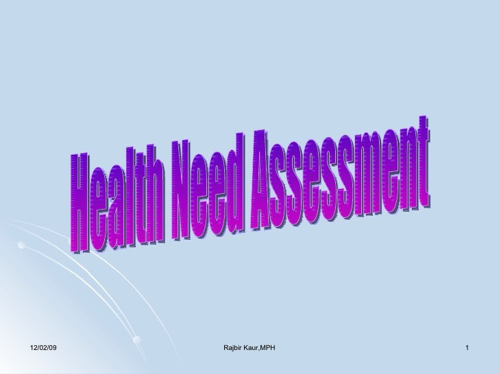 Health Need Assessment