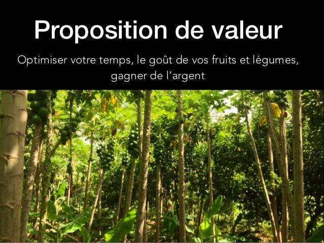 Proposition de valeur Optimiser votre temps, le goût de vos fruits et légumes, gagner de l'argent